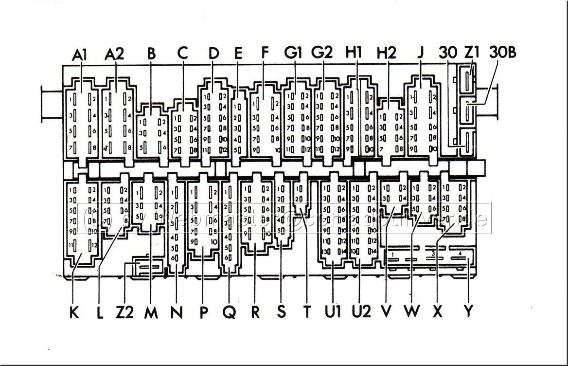 Schaltplan Zentralelektrik (Sicherungskasten) BJ 89-95 Rückansicht